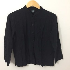 EILEEN FISHER Small Black Button Down Long Sleeve